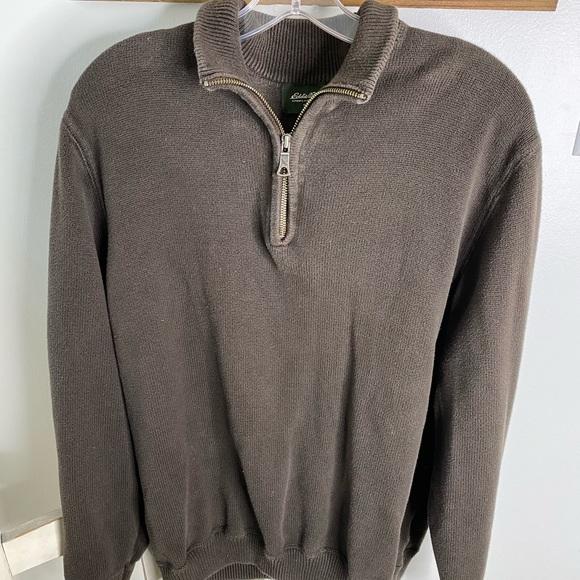 Eddie Bauer Brown pullover 1/4 zip up, size L